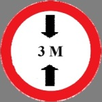 Closed to vehicles of a total height exceeding that indicated in  meter on sign
